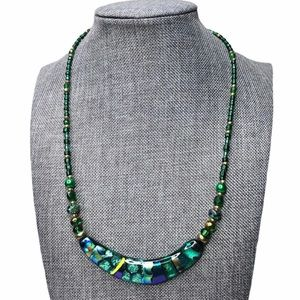 Dichroic Glass Bib Crescent Necklace Beaded